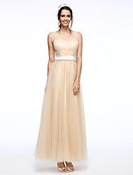 A-ligne straps floor length tulle robe de soirée formelle avec drap de drap