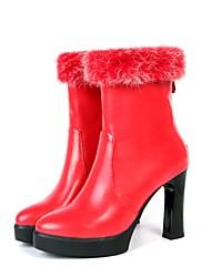 Damen-Stiefel-Lässig-PU-Blockabsatz-Modische Stiefel-Schwarz / Rot