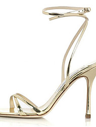 Women's Shoes Leather Stiletto Heel Slingback Sandals Dress Silver/Gold
