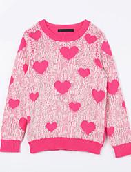 Pull & Cardigan Fille de Imprimé Décontracté / Quotidien Coton Automne Rouge