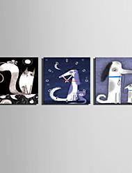 Modern/Zeitgenössisch Tiere Wanduhr,Quadratisch Leinwand 25 x 25cm(10inchx10inch)x3pcs Drinnen Uhr
