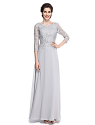 Lanting Bride®Sheath / Column Mother of the Bride Dress - Elegant Ankle-length 3/4 Length Sleeve Chiffon / Lace with Lace