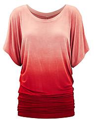 Damen Regenbogen Einfach Lässig/Alltäglich T-shirt,Rundhalsausschnitt Frühling / Sommer Ärmellos Blau / Rot / Grau / Lila Polyester Mittel
