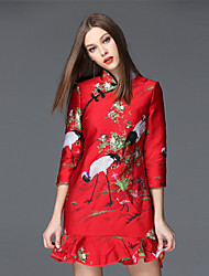 Trompette/Sirène Robe Femme Sortie Chinoiserie,Motif Animal Mao Mini Manches ¾ Rouge Polyester Automne Taille Normale Non Elastique Moyen
