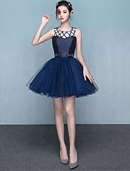 Cocktail Party Dress A-line Jewel Short / Mini Satin / Tulle with Beading