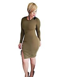 Women's Casual/Daily / Club Sexy Backless Hollow Out Sheath DressSolid Round Neck Above Knee Long Sleeve Mid Rise