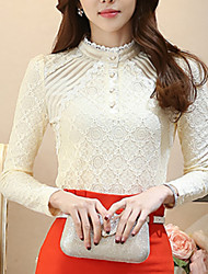 Women's Lace Solid Stand Collar Lace Slim Bottom Blouse Shirt