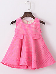 Girl's Going out Solid DressCotton / Rayon Summer Pink