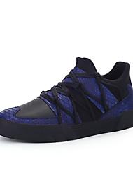 Femme-Extérieure / Décontracté / Sport-Noir / Bleu / Blanc-Talon Bas-Confort-Sneakers-Cuir