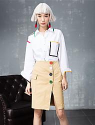 ROOM404  Women's Work Simple All Seasons ShirtSolid Shirt Collar Long Sleeve White