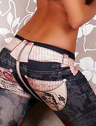 Mulheres Calças Moda de Rua Chinos Poliéster Micro-Elástica Mulheres