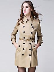 burdully mulheres que saem de trincheira do vintage coatsolid colarinho meio de manga longa queda / algodão