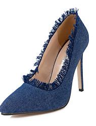 Damen-High Heels-Kleid Lässig-Stoff-StöckelabsatzBlau