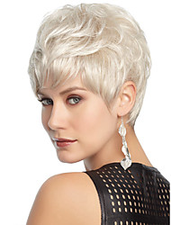 White Color Short Curly Wigs Capless Synthetic Wigs For Women