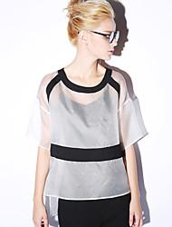 novo antes que as mulheres de sair do bloco blousecolor torno do pescoço manga comprimento simples verão