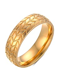 6MM Men's Classic Titanium steel Tire finger Ring Gold Plated Wedding Engagement Band Fans Love R-232