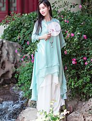 Ample Robe Femme Décontracté / Quotidien simple / Chinoiserie,Couleur Pleine Col en V Mi-long Manches ¾ Bleu Polyester Eté Taille Normale