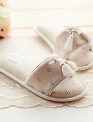 Feminino-Chinelos e flip-flops-Chanel-Rasteiro-Bege-Algodão-Casual