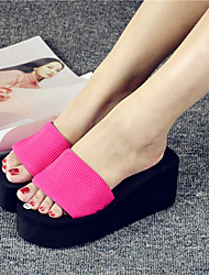 Women's Slippers & Flip-Flops Spring / Summer / Fall Comfort Customized Materials Casual Wedge Heel Others Black