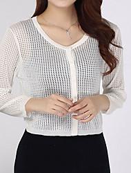 Damen Standard Strickjacke-Lässig/Alltäglich Einfach Street Schick Solide Weiß Gelb ¾-Arm Baumwolle Sommer Transparent Mikro-elastisch
