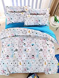 bedtoppings Consolador capa de edredão colcha 4pcs set queen size folha plana padrão fronha de poker imprime microfibra