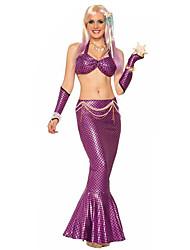 Costumes de Cosplay Costume de Soirée Sirène Conte de Fée Fête / Célébration Déguisement d'Halloween Violet Vert Mosaïque Couleur Pleine