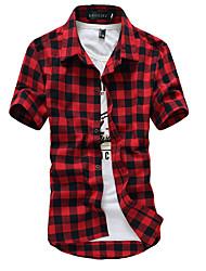 Men's Summer Lattice Cardigan Casual Business Work Cotton Short Sleeve Lapel Shirt