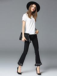 FRMZ  Women's Solid Black Jeans / Wide Leg PantsStreet chic