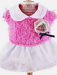 Katzen / Hunde Kostüme / Mäntel / Pullover / Kleider Gelb / Blau / Rosa / Rose Hundekleidung Winter / Frühling/Herbsteinfarbig / Blumen /