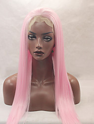 Fashion Long Straight Synthetic Lace Front Wig Glueless Pink Color For Afro Women Wigs
