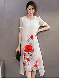 Women's Casual/Daily Chinoiserie Loose Dress,Floral Round Neck Knee-length Short Sleeve White / Black Polyester