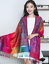 Women National Wind Jacquard Fringed Printing Flower Embroidery Cotton Shawl Scarf Oversized Travel Scarves