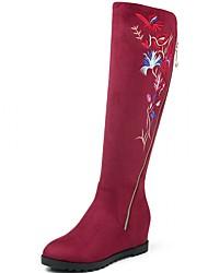 Feminino-Botas-Plataforma Conforto Inovador Botas de Cowboy Botas de Neve Botas Montaria-Rasteiro Plataforma-Preto Vinho-Couro