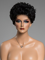 Towheaded Curly Capless Fashion Jet Black Short Women's Real Human Hair wig