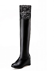 Feminino-Botas-Inovador Botas de Cowboy Botas de Neve Botas Montaria Botas da Moda-Anabela-Preto Branco-Courino Couro Envernizado-
