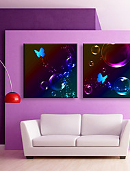 E-HOME® Stretched LED Canvas Print Art Water Bubbles And Butterflies LED Flashing Optical Fiber Print Set of 2