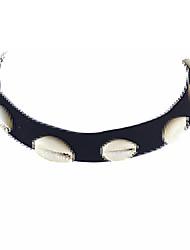 Punk Rock Black Velvet Wide Choker Necklace with Shell