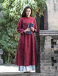 Feminino Solto Vestido,Casual Vintage Jacquard Colarinho Chinês Médio Manga Longa Vermelho Algodão Outono / Inverno Cintura MédiaSem