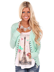 Women's Going out / Casual/Daily Simple / Street chic Regular CardiganSolid Pink / Black / Green Notch Lapel