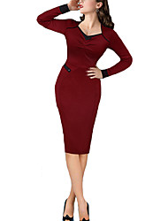 Women's Work Sexy / Simple Bodycon DressSolid Sweetheart Knee-length Long Sleeve  Polyester Fall / Winter Mid Rise