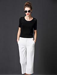 FRMZ  Women's Casual/Daily Simple Regular PulloverSolid Short Sleeve Rayon Fall Medium Inelastic