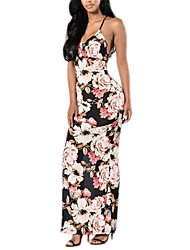 Women's Party/Cocktail Sexy Bodycon DressFloral Strap Maxi Sleeveless Multi-color Polyester Summer / Fall Mid Rise