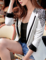 Women's Patchwork White Blazer , Work / Casual / Day Shirt Collar Long Sleeve