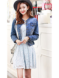 Women's Going out /Cute Spring / Fall Denim JacketsSolid Stand Long Sleeve Blue Cotton Medium