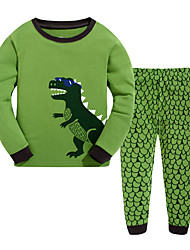 Boy's Casual/Daily Print Clothing SetCotton Winter / Fall Green