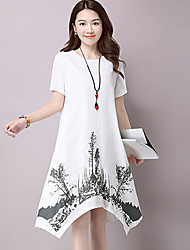 Women's Casual/Daily Chinoiserie Loose Dress,Print Round Neck Asymmetrical Short Sleeve  Linen / Rayon Summer