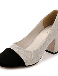 Damen-High Heels-Büro-Glanz / Mikrofaser-Blockabsatz-Absätze / Pumps / Rundeschuh / Geschlossene Zehe-Schwarz / Silber / Gold
