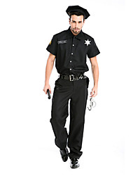 Mens Police Cosplay Costumes Party Costume Police Career Costumes Festival/Holiday Halloween Costumes SolidTop Pants Weapons and Armor More