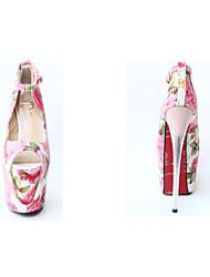 Damen High Heels Pumps PU Sommer Normal Walking Pumps Stöckelabsatz Rosa 7,5 - 9,5 cm