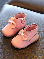 Girls' Boots Leather Spring Summer Fall Outdoor Bowknot Zipper Flat Heel White Ruby Blushing Pink Flat